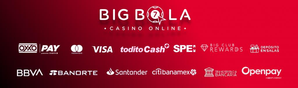 Métodos de pago diponibles en BigBola